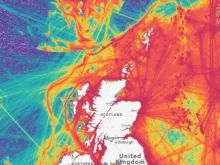 Vessel density around Scotland in 2019. Credit: Marine Traffic